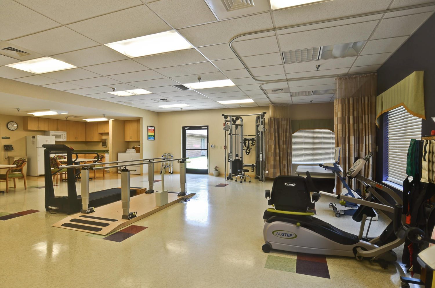 Exercise and physical therapy equipment in Stonerise Clarksburg Rehabilitation room