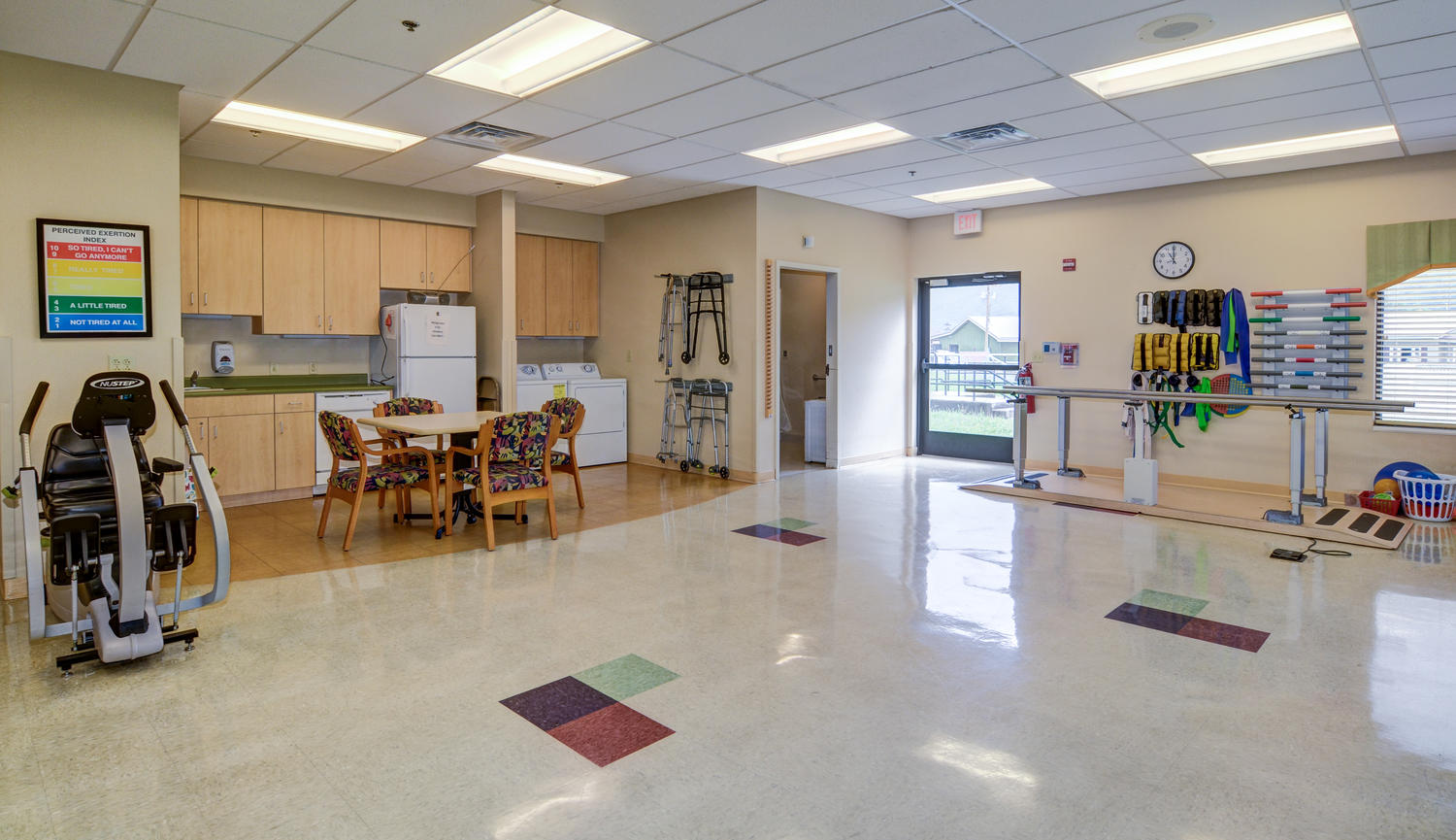 Stonerise Keyser Therapy and Rehabilitation room with equipment, kitchen and laundry