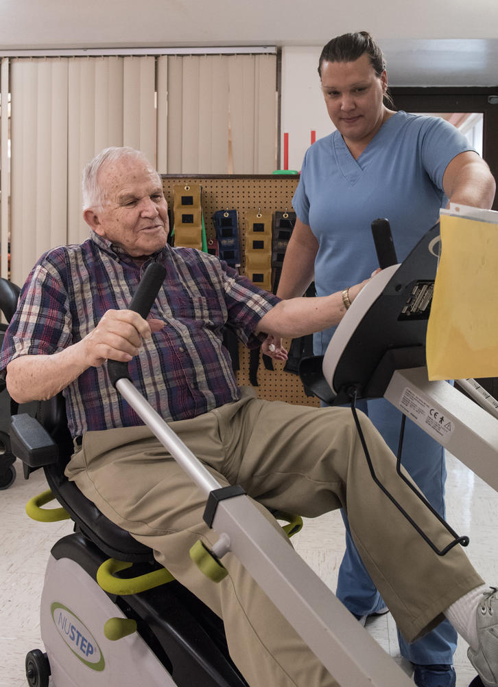 Patient using equipment during Stonerise Princeton Therapy session