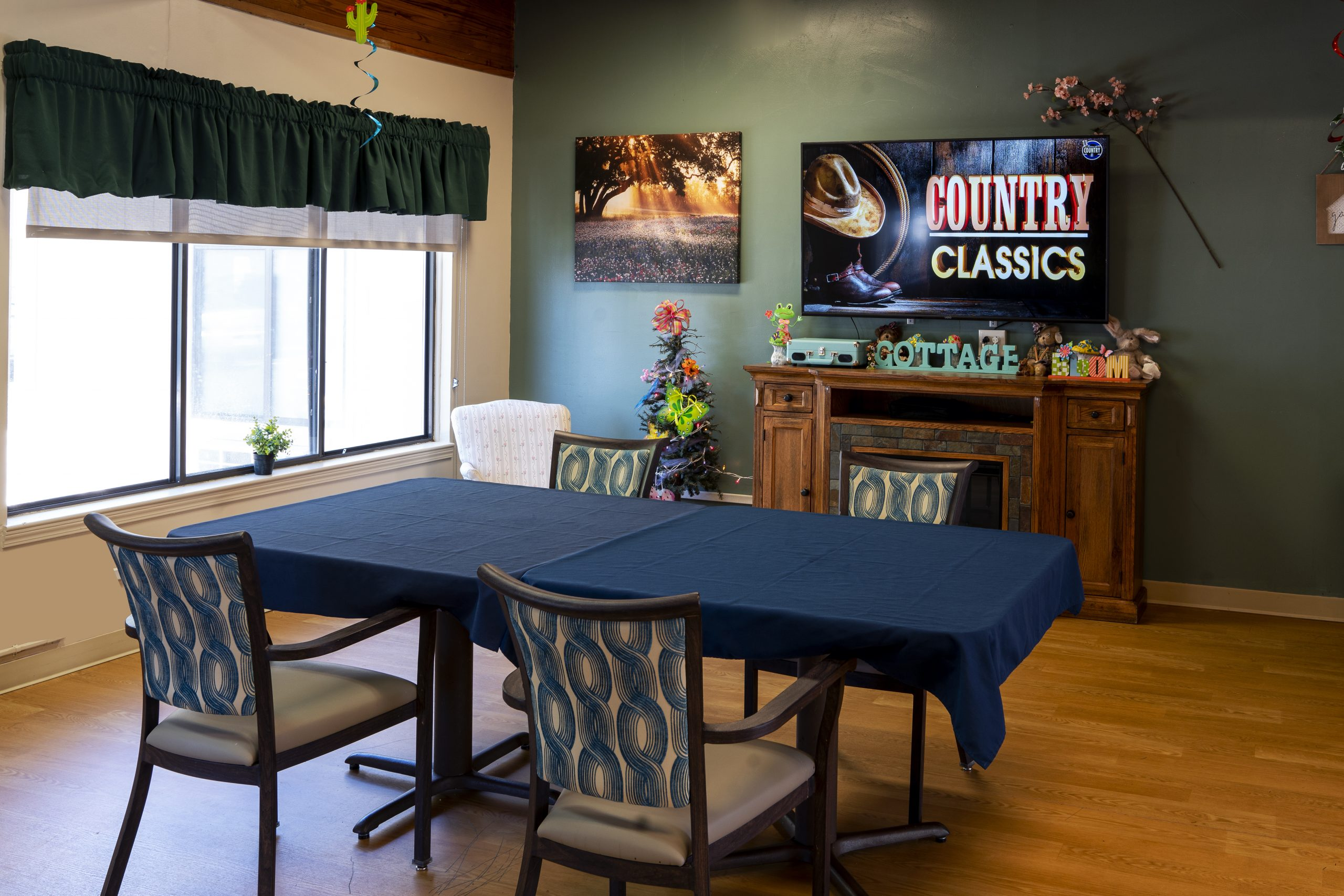Stonerise Parkersburg activity room with seating area, fireplace and TV
