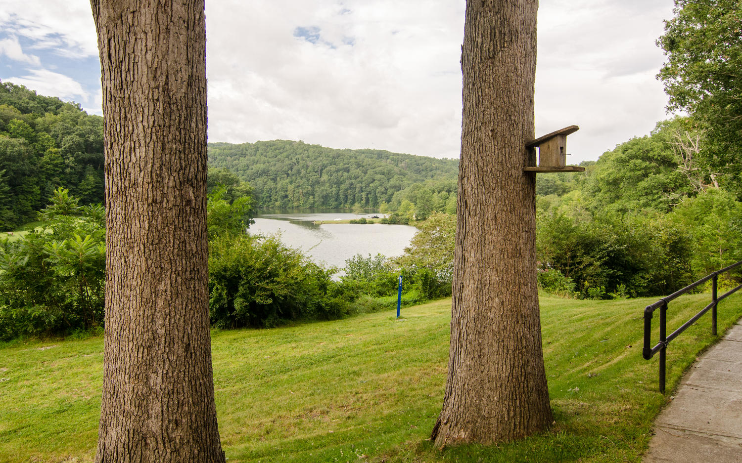 Exterior view from Stonerise Princeton to tree-lined lake