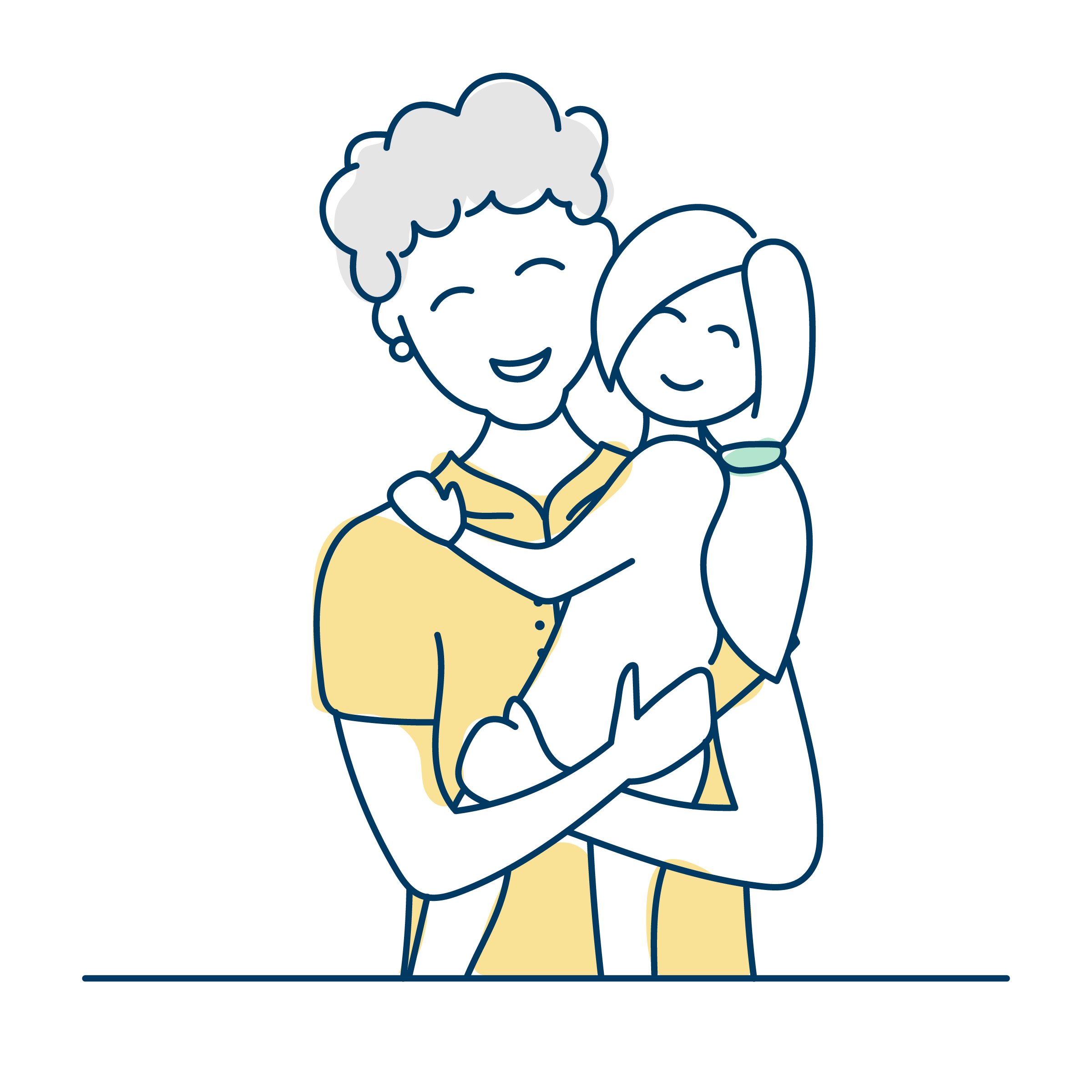 Illustration of woman and child hugging and smiling