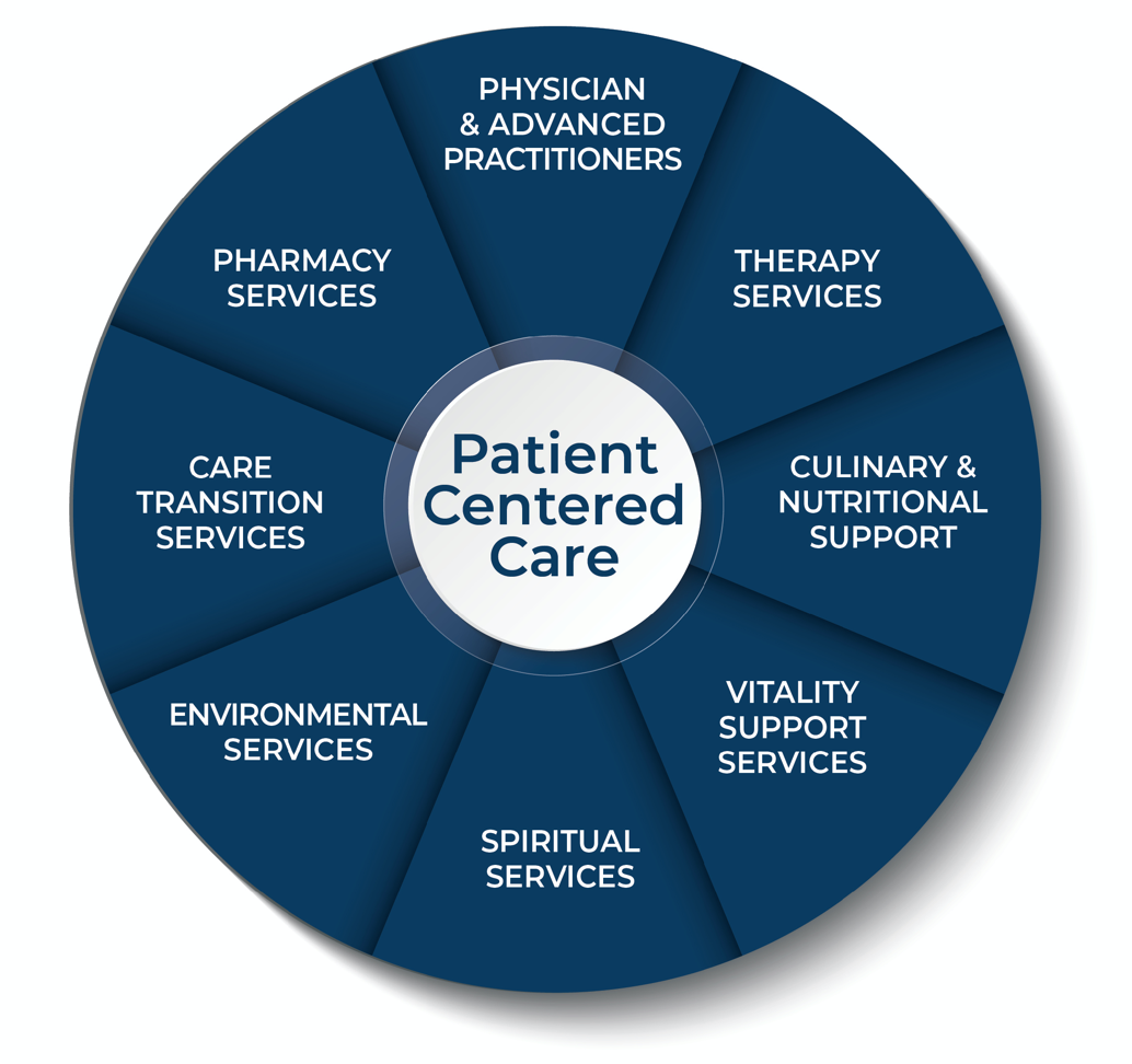 Stonerise Transitional Care Centers team graphic with patient-centered skilled nursing care